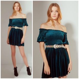 Urban Outfitters Emerald Clara Bardot Velvet Dress